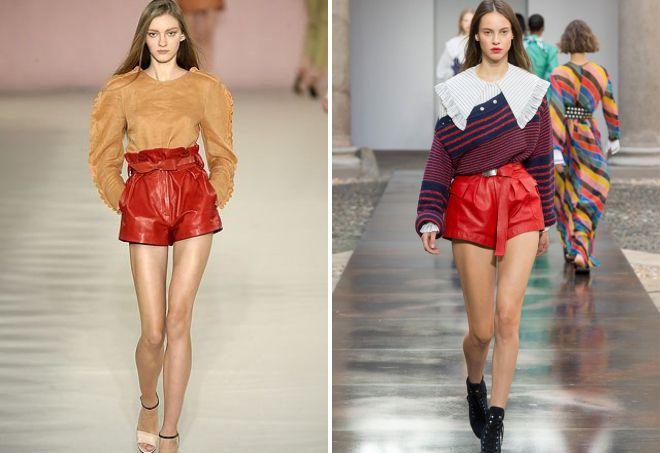 красные шорты с блузкой