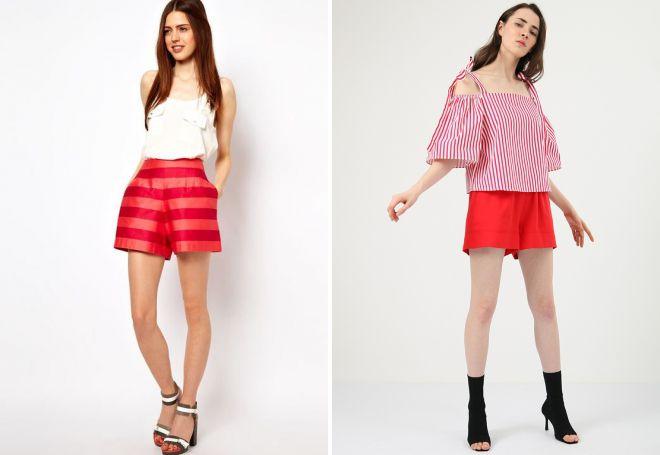 широкие красные шорты