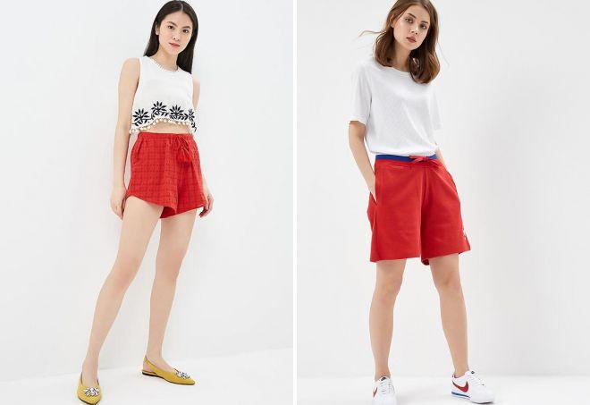 спортивные красные шорты