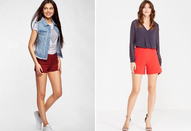 с чем носить женские красные шорты