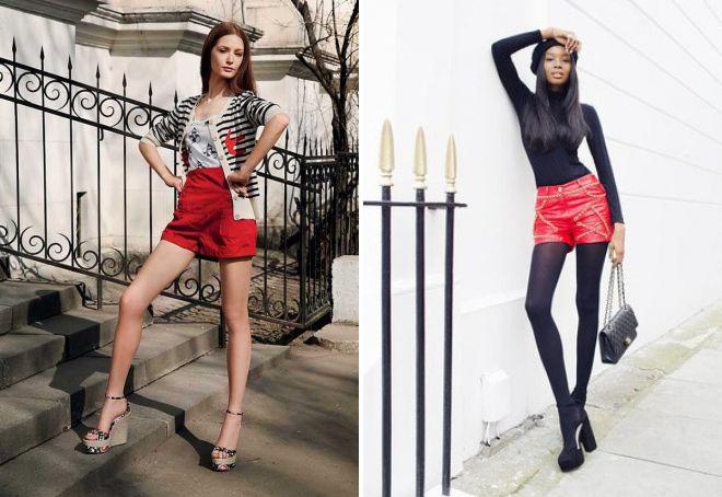 красные женские шорты