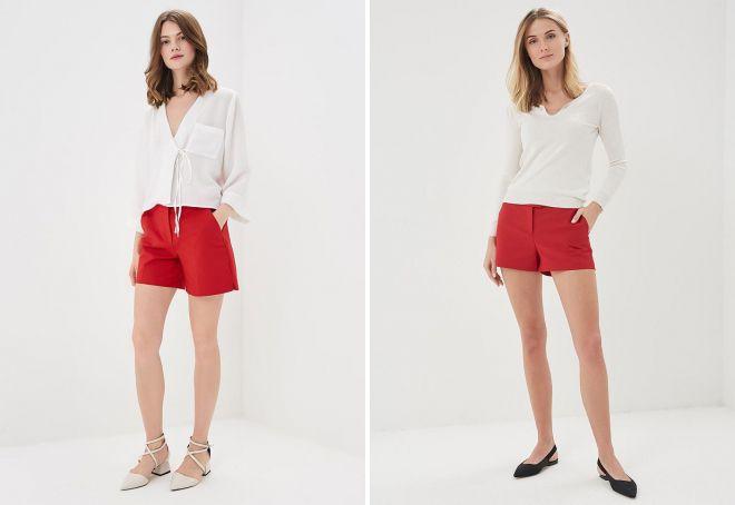 красные шорты и топ