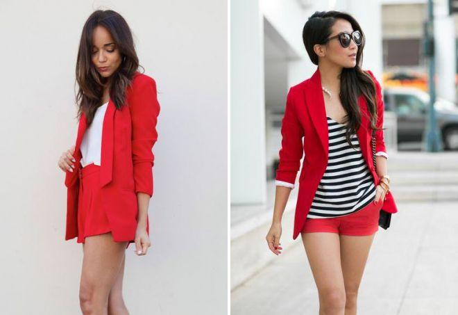 красный костюм с шортами