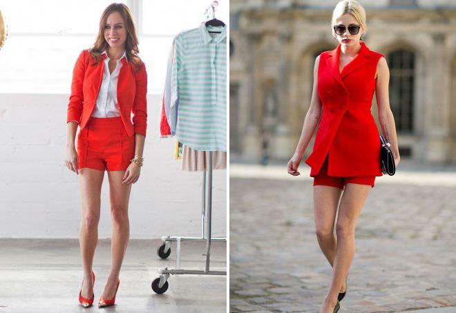 летние красные шорты