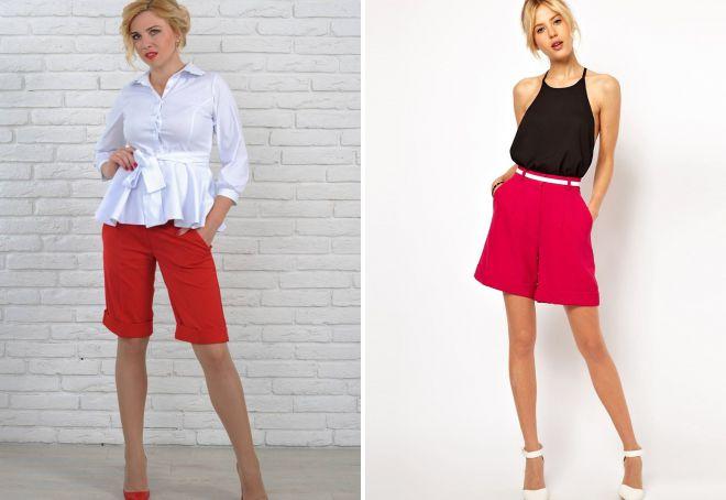 классические красные шорты