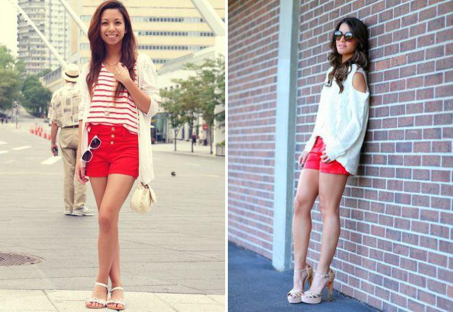 женские красные джинсовые шорты