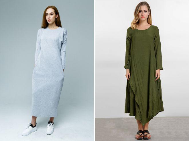 длинное платье мешок