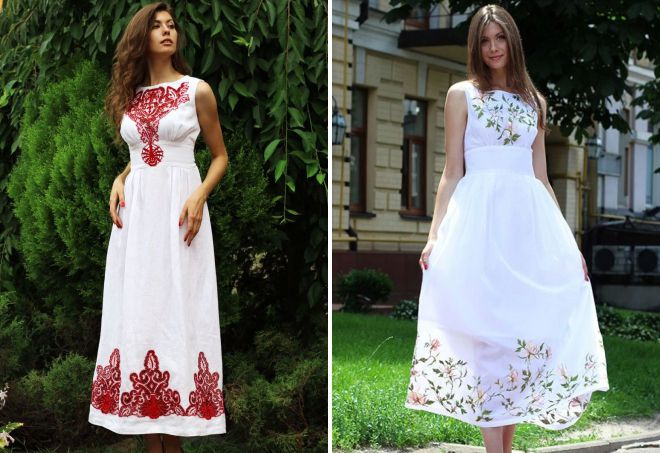 платья с вышивкой 2018