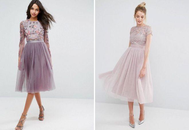 платье из фатина с вышивкой