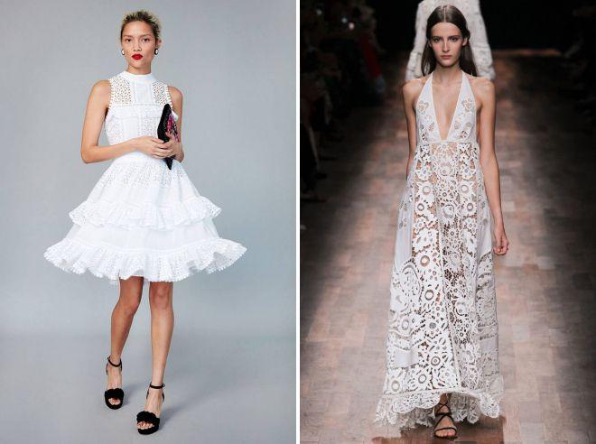 белое хлопковое платье с кружевом 2018