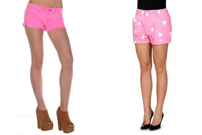 короткие розовые шорты