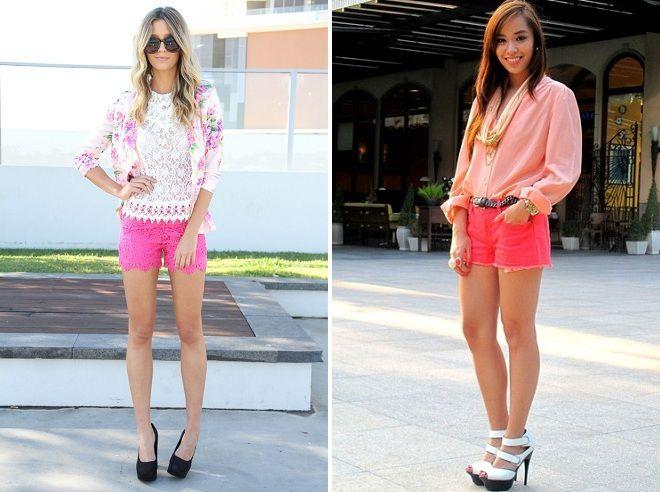 с чем носить женские розовые шорты