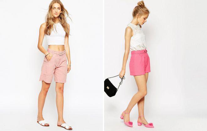 классические розовые шорты