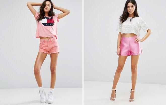 розовые шорты с завышенной талией