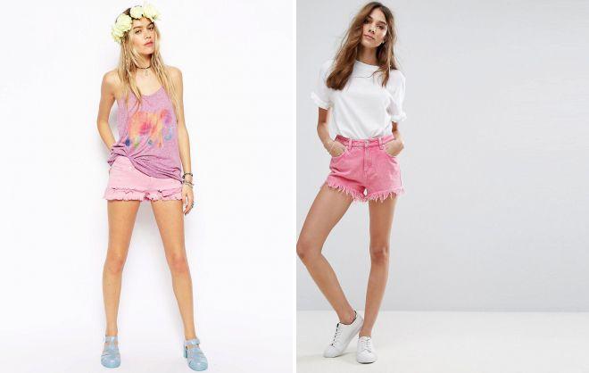 рваные розовые шорты