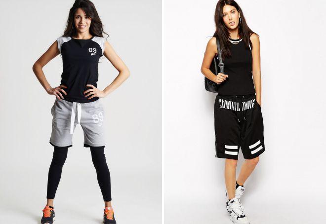 женские длинные спортивные шорты