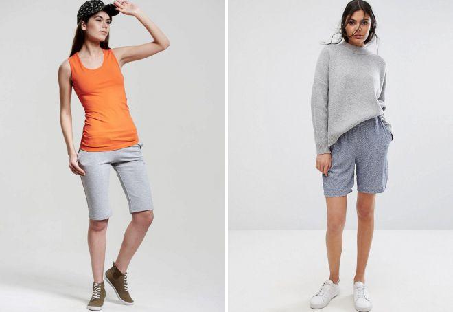женские длинные трикотажные шорты