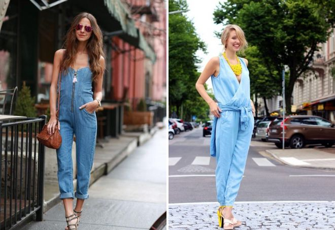 женские летние джинсовые комбинезоны