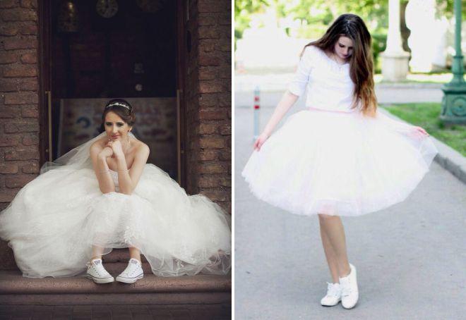 свадебное платье с кедами