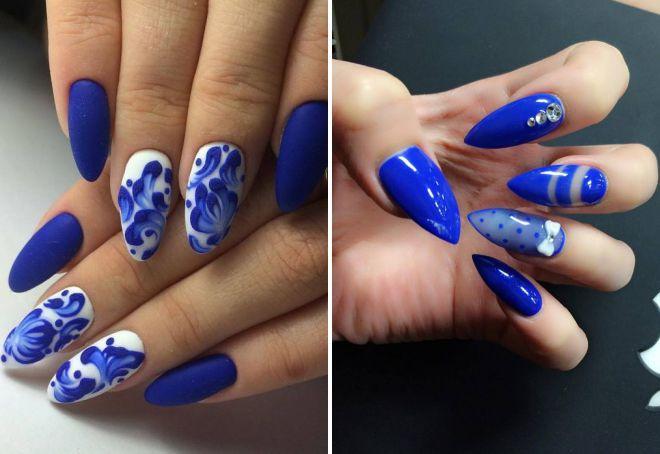 синий маникюр 2018 на длинные ногти