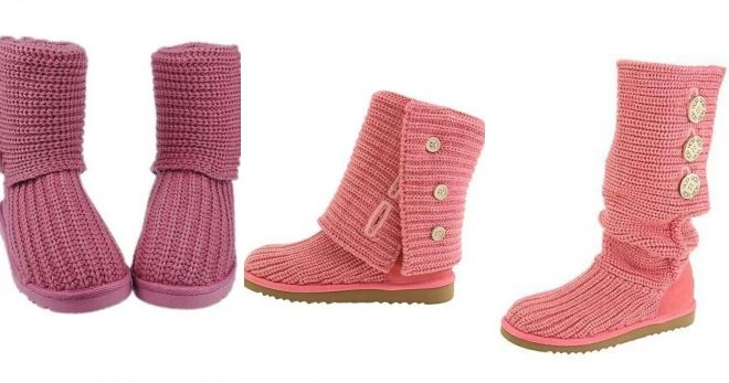 Crocheted pink uggs