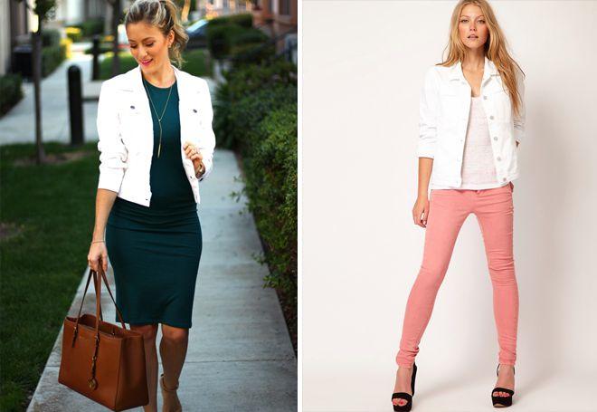 стильные луки с белой короткой курткой