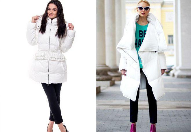 с чем носить белую удлиненную куртку
