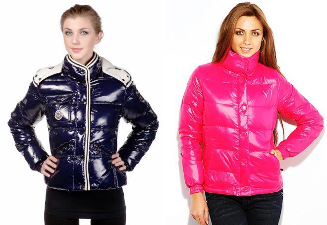глянцевая женская куртка монклер