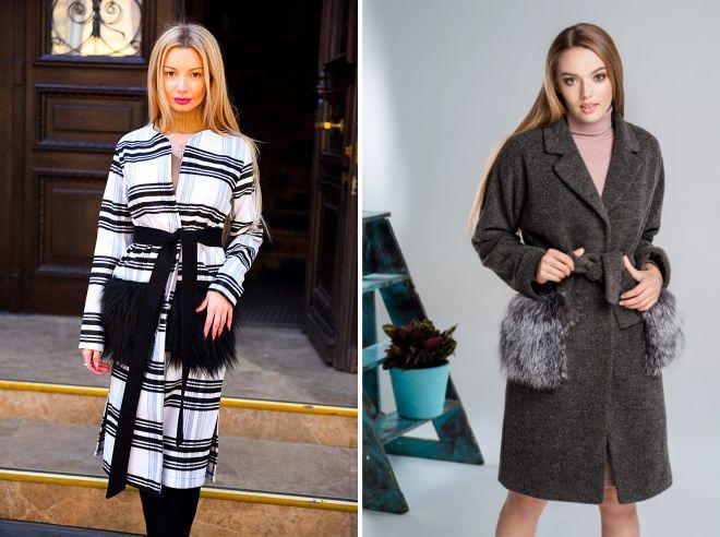 пальто с меховыми карманами тренд