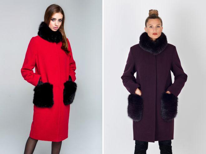 пальто с меховыми карманами и воротником