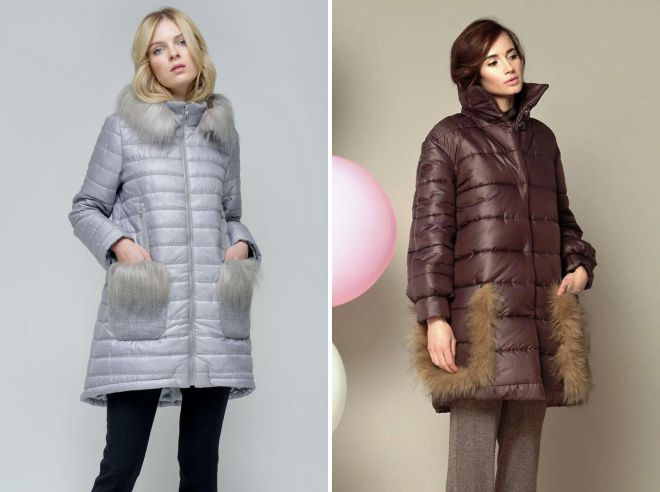стеганое пальто с меховыми карманами