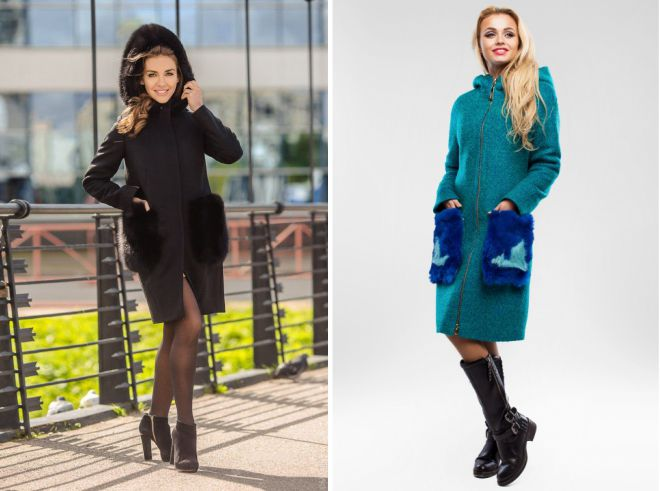 пальто с капюшоном и меховыми карманами