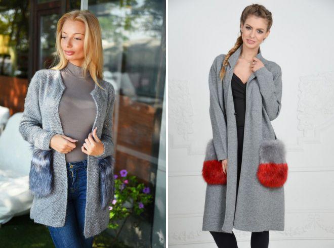 вязаное пальто с меховыми карманами