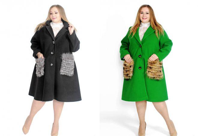 пальто с меховыми карманами для полных