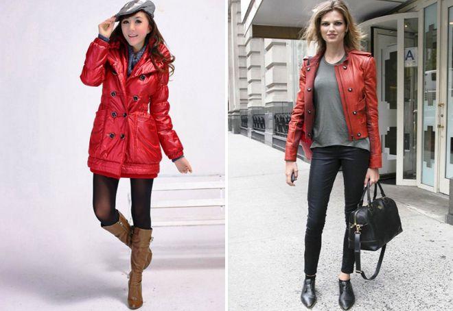 обувь под красную куртку