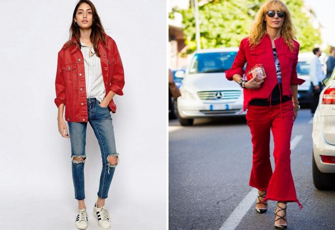 vestes en denim rouge