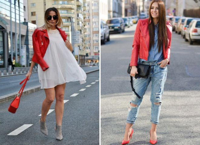 кожаные женские красные куртки