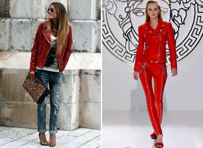 красная лакированная куртка