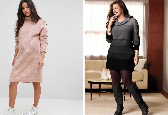 7a86f2aafd6 с чем носить платье свитер полным девушкам ...