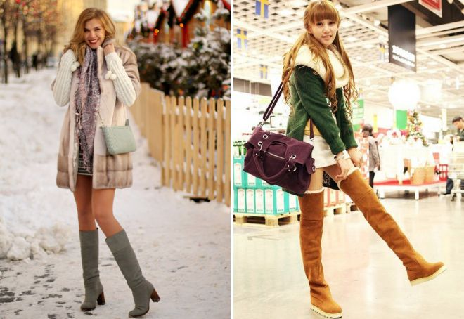 с чем носить высокие сапоги зимой