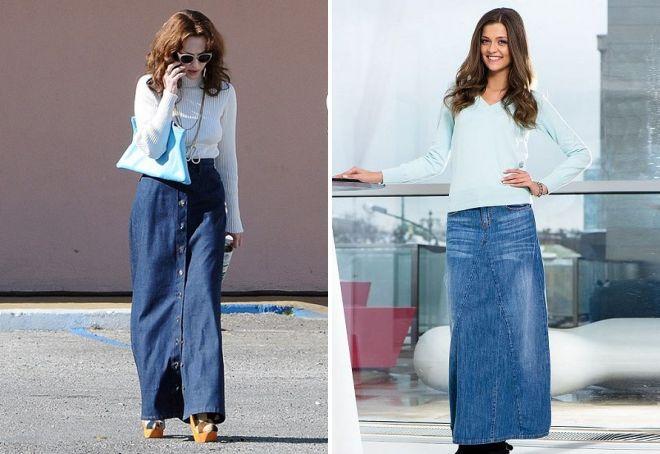 с чем носить длинную джинсовую юбку карандаш