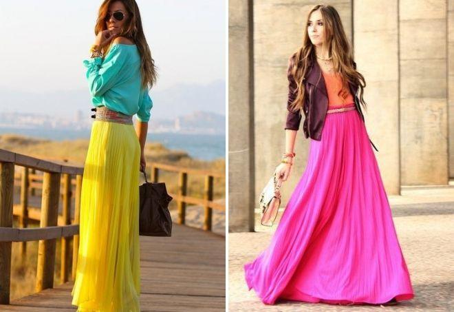 длинная юбка плиссе с чем носить