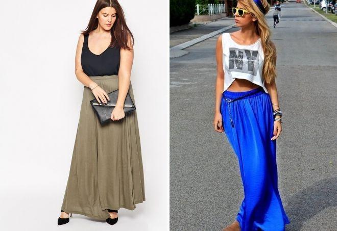 с чем носить длинную юбку летом