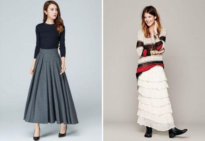 длинные юбки в пол с чем носить