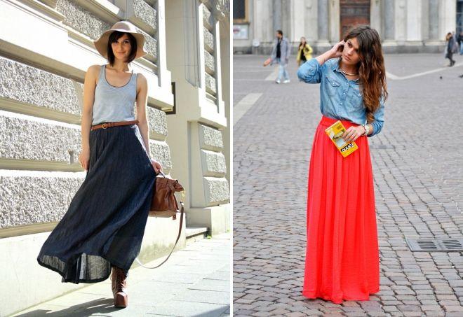 с чем носить длинную юбку весной