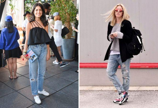 женские джинсы бананы с кроссовками