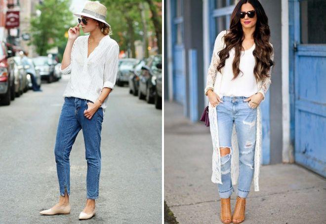 с чем носить женские джинсы бананы весной