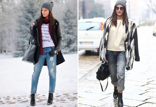 с чем носить джинсы бананы зимой