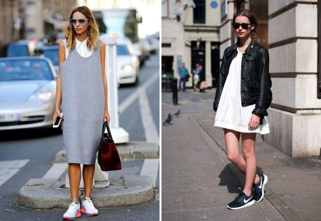 платье оверсайз с кроссовками