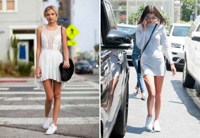 белые кроссовки с платьем